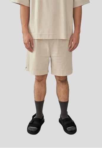 We Enjoy Simplicity beige Sport Lounge Unisex Short (Sand Beige) 59948AA4C448ECGS_1