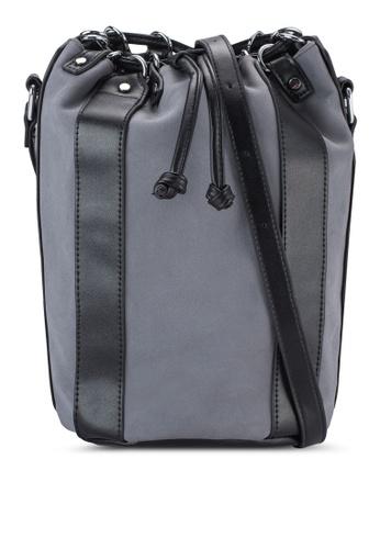 Something Borrowed grey Faux Suede Panelled Bucket Bag ECD7FACF6287ABGS_1