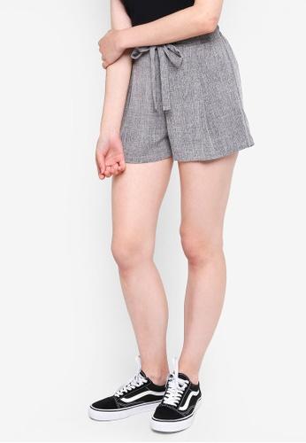 Something Borrowed grey Self Tie Flare Shorts 4BAD8AAF2AC87DGS_1