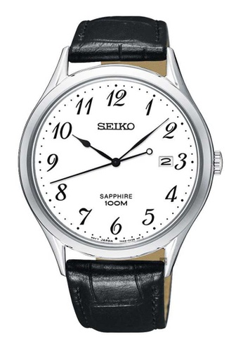Seiko black Seiko Silver and Black Leather Watch ACEE3AC752D6C0GS_1