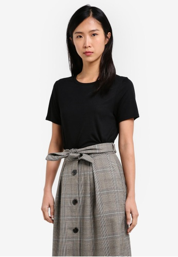 TOPSHOP black Neat Crew T-Shirt TO412AA0S4HHMY_1