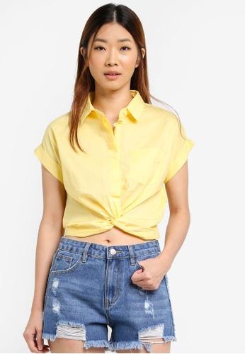 Something Borrowed yellow Twist Drop Shoulder Cropped Shirt 4B0F0AAB9092CAGS_1