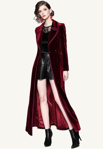 Twenty Eight Shoes red VANSA Fashion Velvet Over The Knee Coat  VCW-C9005703 1846DAAB990AFAGS_1