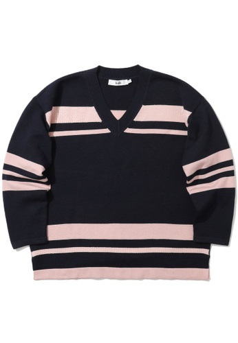 b+ab pink Sequin embellished stripe sweater C0203AA0E01D0EGS_1