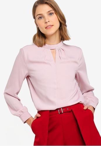 ZALORA 粉紅色 長袖開叉上衣 FC391AAE870360GS_1