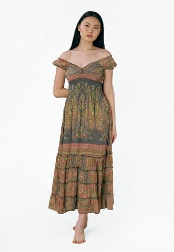 Aanya grey and pink Grey and Pink Off Shoulder Bella Dress 24EF7AA0951A4DGS_1