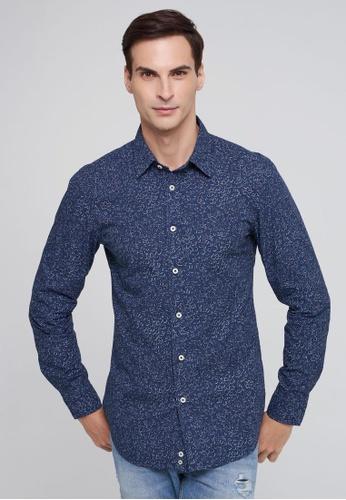 United Colors of Benetton 藍色 滿版印花純棉長袖襯衫 908D1AA8510178GS_1