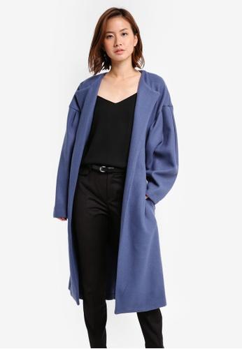 Mango blue Puffed Sleeves Coat MA193AA0T0WRMY_1