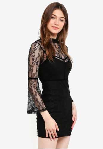 Something Borrowed black Lace Bodycon Dress With Trim Detail A9D00AA64BD73DGS_1