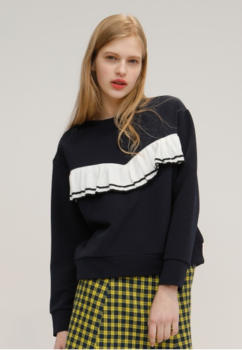 OUTSTANDING ORDINARY white and navy Myself Sweatshirt OU203AA03DDGSG_1