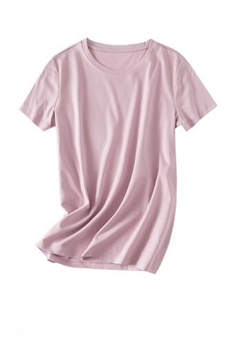 Twenty Eight Shoes pink VANSA Round Neck Mercerized Cotton Short-sleeved T-Shirt VCW-Ts1902U 52ACAAABF2F584GS_1
