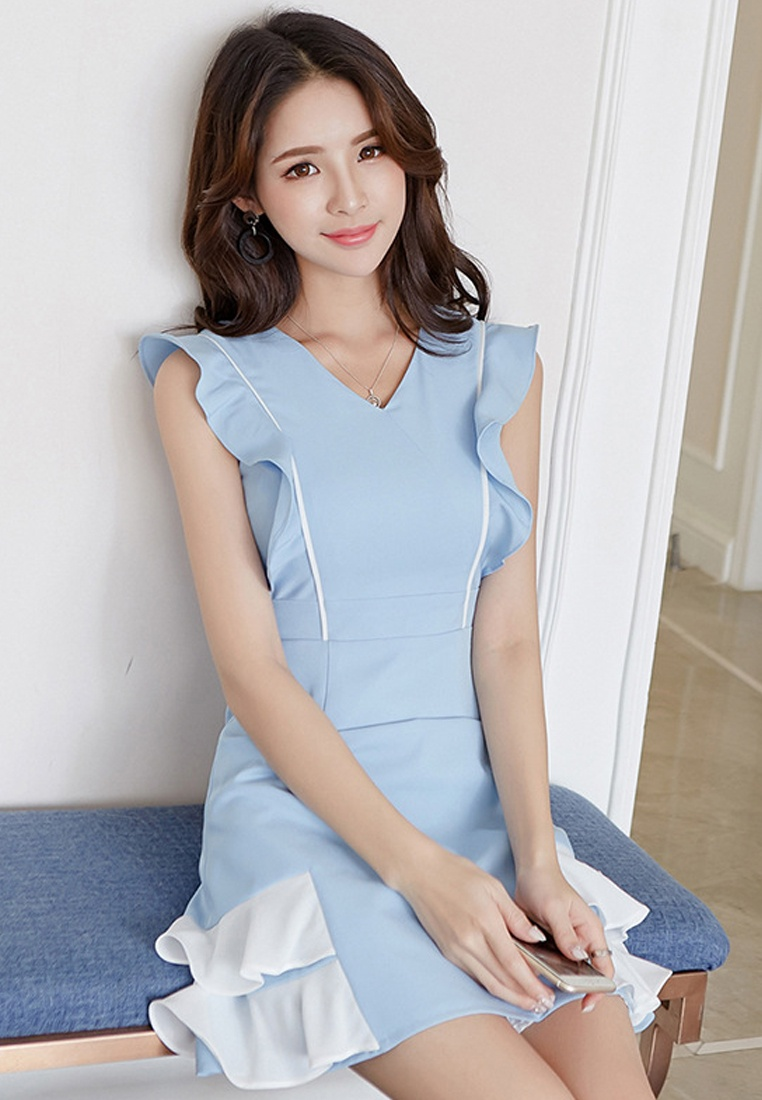 Sunnydaysweety Sleeveless Piece Blue Light New 2018 A061216BL One Blue Dress tqv8nRw4