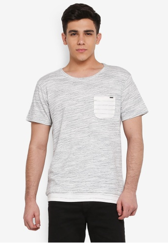 Indicode Jeans 灰色 混色口袋T恤 19BA2AA11EBAF8GS_1