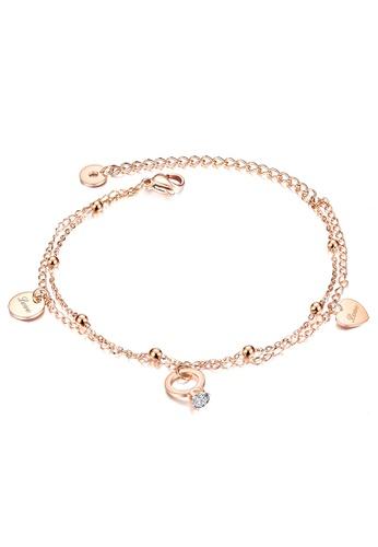 YOUNIQ YOUNIQ JOYN Tiny Ring Heart Love Dangle 18K Rosegold Titanium Steel Anklet Chain Leg Bracelet with Cubic Zirconia 7EA8AAC97360A1GS_1