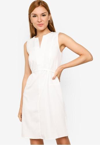 ZALORA WORK white Notch Neck Midi Dress 86F46AA1E50DE0GS_1