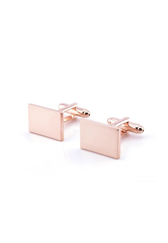 Kings Collection gold Rectangular Cufflinks 082B7AC4418C3EGS_1