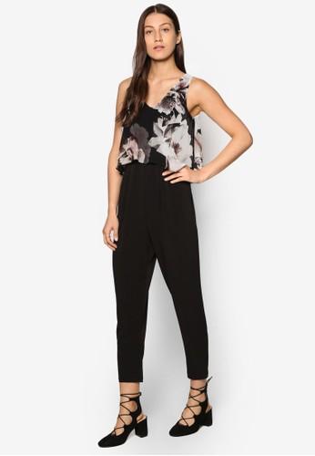 Petite 印花層次連身長褲、 服飾、 服飾WallisPetite印花層次連身長褲最新折價