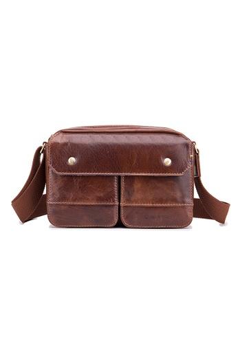 ENZODESIGN brown ENZODESIGN Vintage Buffalo Leather Mini Shoulder Messenger Bag D19C1AC8A16D1FGS_1