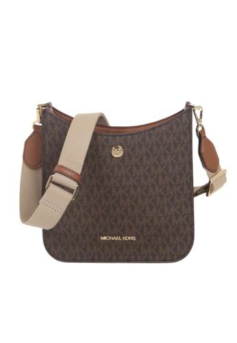 MICHAEL KORS brown Michael Kors Small Briley 35S1G7BM1B Monogram Messenger Bag In Brown Acorn 0F927ACADFBF90GS_1