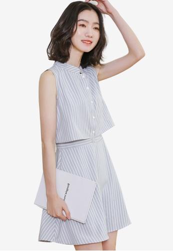 Shopsfashion grey Layered Fit And Flare Dress 238DAAAEB87CD5GS_1
