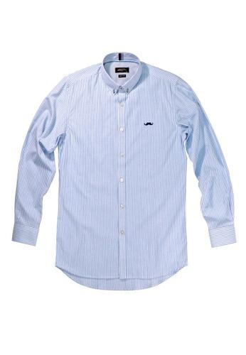 Private Stitch blue Private Stitch Signature Moustache Shirt in Stripe 5F529AA67DF1C4GS_1