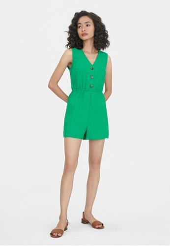 Pomelo green Buttoned Elastic Waist Romper - Green FE477AAF87961FGS_1