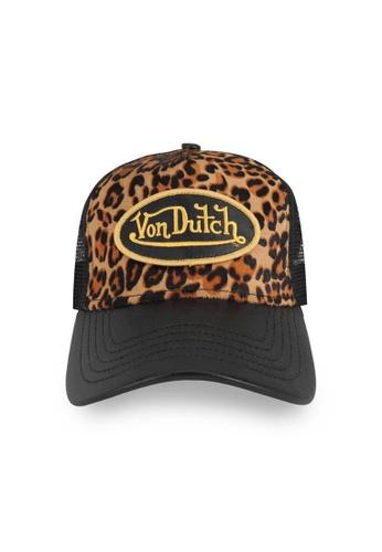 Von Dutch black Von Dutch Leopard Print Pony Hair Trucker Cap B2DDBACA5B5212GS_1