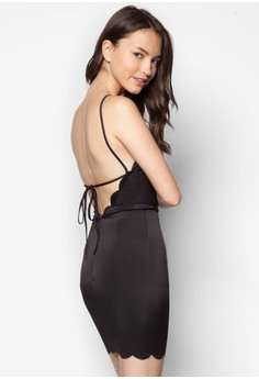 Love Scalloped Hem Bodycon Dress