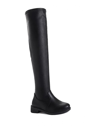 Twenty Eight Shoes black Low Heel Skinny Over Knee Boots VB6661 157D5SH879B631GS_1
