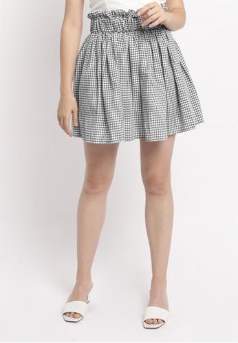 Modemaya black Anna Checker Ruffle Skirt D2A1BAA52E0AB8GS_1