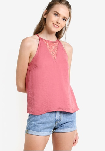 Something Borrowed pink Cut In Lace Panel Swing Top F3ACCAA9825B1AGS_1