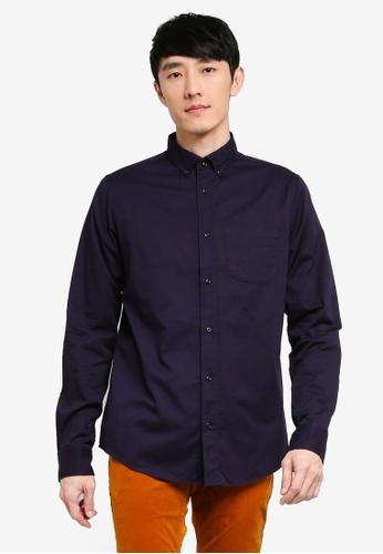 Scotch & Soda navy Regular Fit - Solid Cotton-Twill Shirt C501DAA67BAD1DGS_1