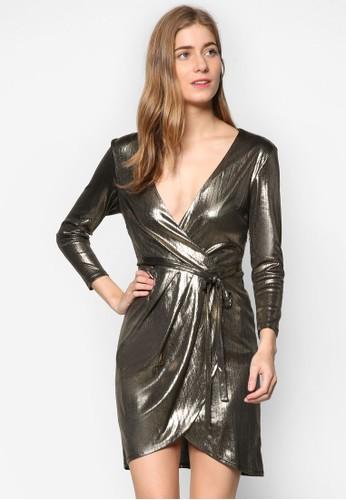 金屬緊身裹式七esprit官網分袖連身裙, 服飾, 服飾