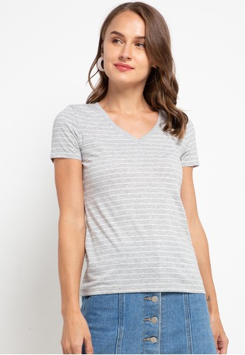 Giordano grey Women's V Neck Tee B0789AAC0DBFEBGS_1