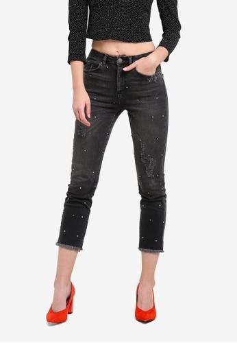 Miss Selfridge black Diamante Straight Leg Jeans MI665AA0S6FQMY_1