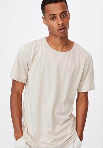 Cotton On beige Longline Scoop Burnout T-Shirt 9EFE1AA3FDD66EGS_1
