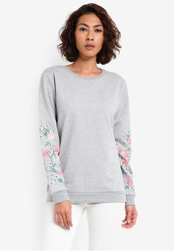 Dorothy Perkins grey Print Sleeve Jumper DO816AA0SKTCMY_1