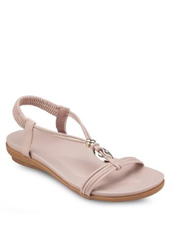 四葉草金飾T字帶涼鞋zalora 折扣碼, 女鞋, 涼鞋