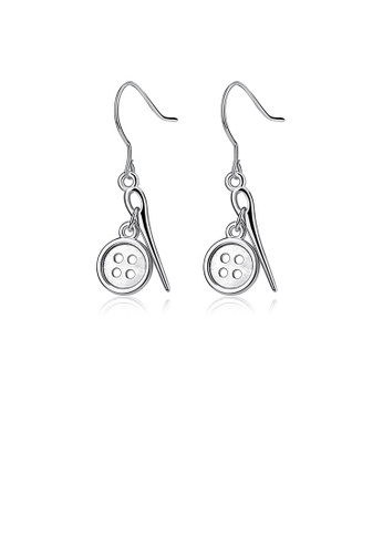 Glamorousky silver 925 Sterling Silver Simple Creative Button Earrings D664DAC24C0C93GS_1
