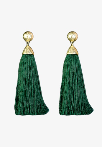 Zaryluq green Long Tassel Earrings in Foliage 187E3ACFD14444GS_1