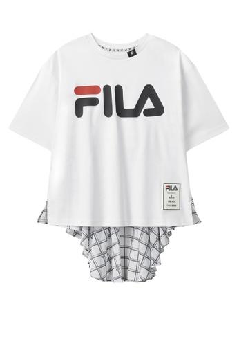 FILA white FILA × Maison MIHARA YASUHIRO FILA Logo Dropped Shoulders Checked T-shirt F0C97AA757F4D7GS_1