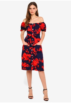 d3935120420 Goddiva Cosmochic - Bardot Floral Print Midi Dress RM 159.00. Sizes 8 10 12  14 16