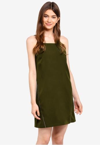 Something Borrowed green Zip Trim Cut-In Shift Dress FA37CAA4D25A3BGS_1