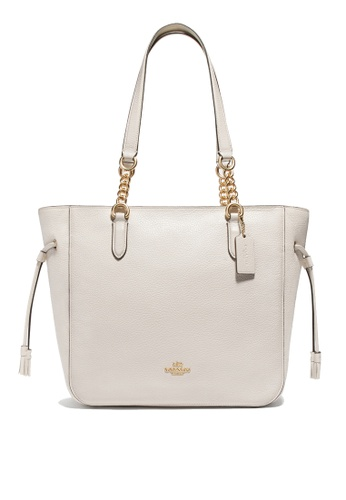 Coach white Elle Chain Tote Bag (cv) 1A2BFAC842ABEAGS_1