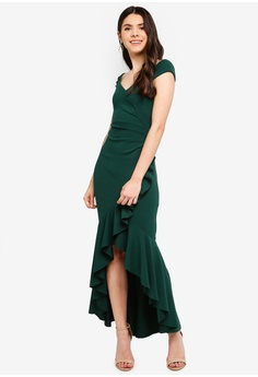 d2e2319d392 Goddiva green High Low Frill Hem Maxi Dress 8C878AADAB2B37GS 1
