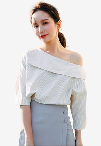 Shopsfashion beige Slanted Shoulder Blouse 3775FAA32A484FGS_1