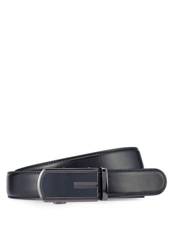 UniqTee black Leather Dress Belt With Automatic Buckle UN097AC05ATEMY_1