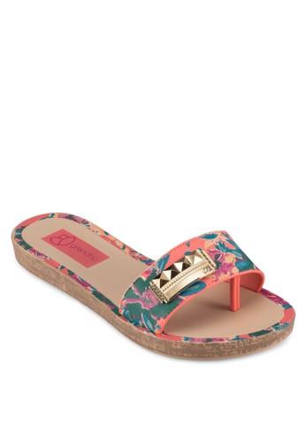 金飾印花寬帶拖鞋, 女esprit outlet台北鞋, 涼鞋