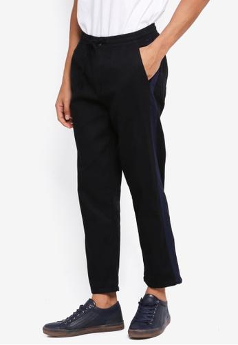 Cotton On 黑色 and 海軍藍色 條紋滾邊褲 3E0FFAA535478CGS_1