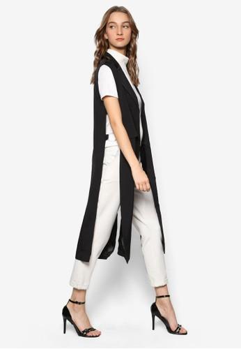 側開叉長版無袖esprit tw外套, 服飾, 外套